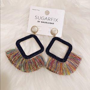 NWT Rainbow Colorful Fringe Statement Earrings